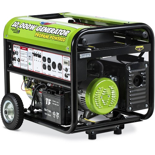 10,000-Watt Propane Powered Electric Start Portable Generator with Mobility Kit